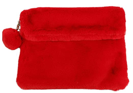 6a6849e3cbe4 Image Unavailable. Image not available for. Color  Red Faux Fur Clutch  Wallet Cross Body Handbag ...