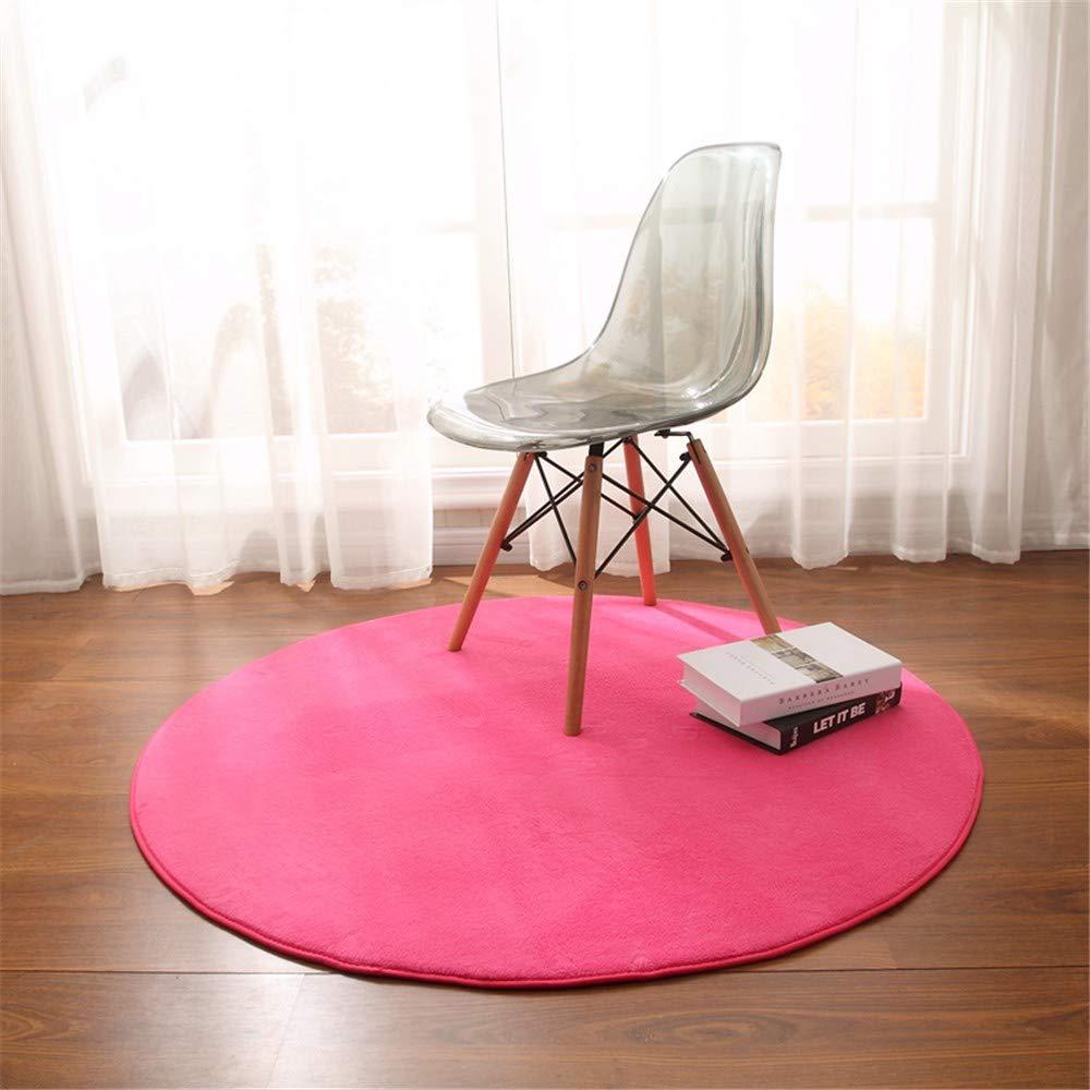 Mengjie Modern Hochflor Shaggy Teppich Runde Waschbar Ohne zu Verblassen für Wohnzimmer,Schlafzimmmer,Kinderzimmer,Esszimmer,Rosa,120CM
