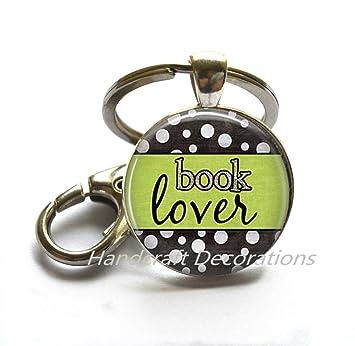 Libro amante llavero, llavero, diseño de libro, libro cita ...