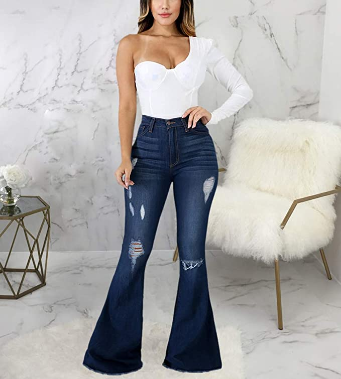 Bell Bottom Jeans for Women Ripped High Waisted Classic Bellbottom Pants