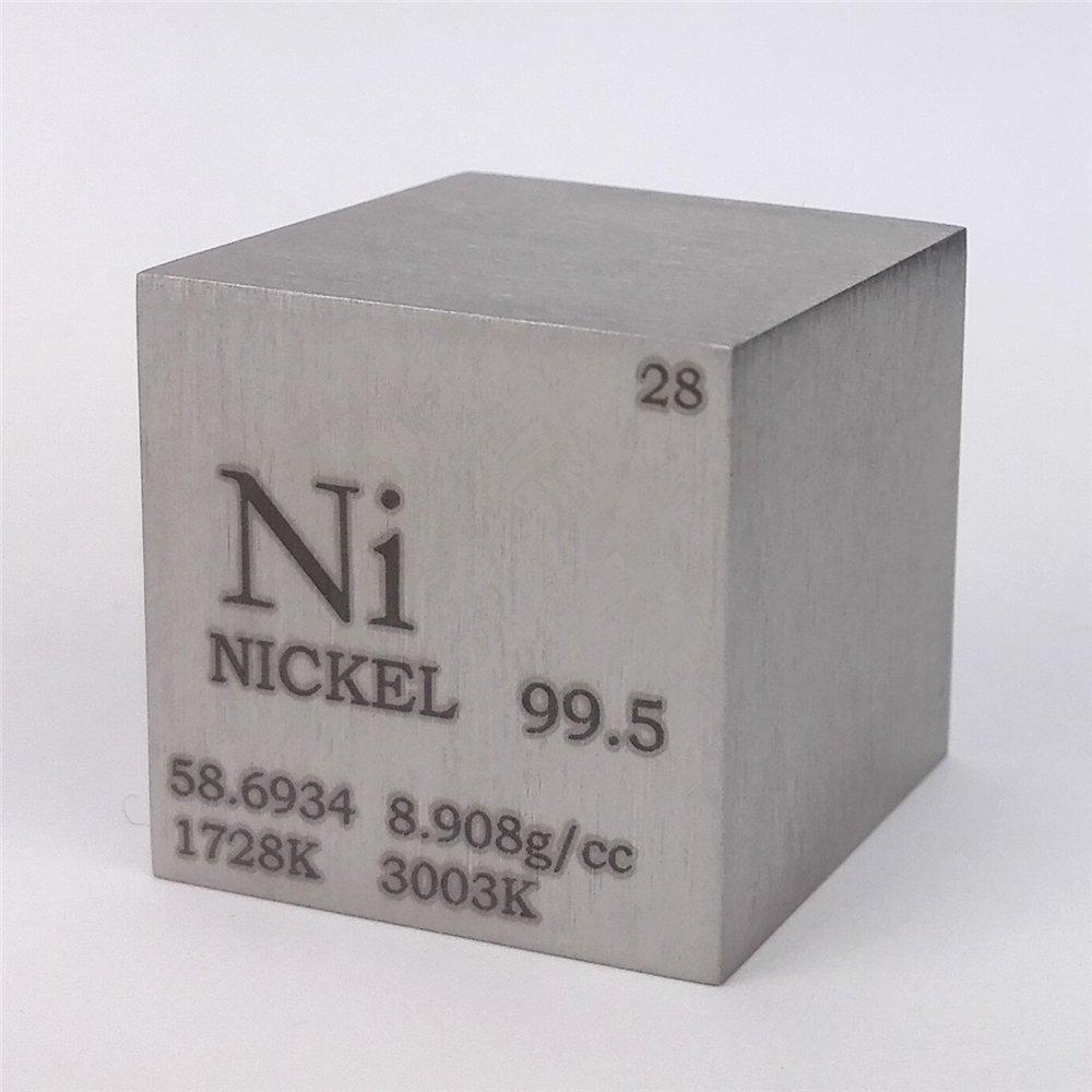 1 inch 25.4mm Nickel Metal Cube 99.5% 146grams Engraved Periodic Table Chinaium