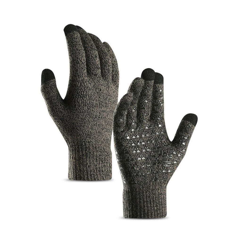 yanbirdfx 1 Pair Winter Cycling Full Finger Knitted Warm Men Women Touch Screen Gloves - Men Grey