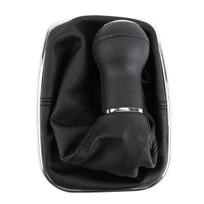 LEORX Profesional 6 velocidad polvo Gear Shift Knob arranque para VW Bora/Golf (negro): Amazon.es: Coche y moto