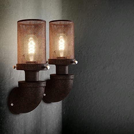 PST@ Vintage Wall lamp Loft Water Pipe warehouse Wall light lamparas de pared Black Industrial retro luxury wall sconce lights - - Amazon.com