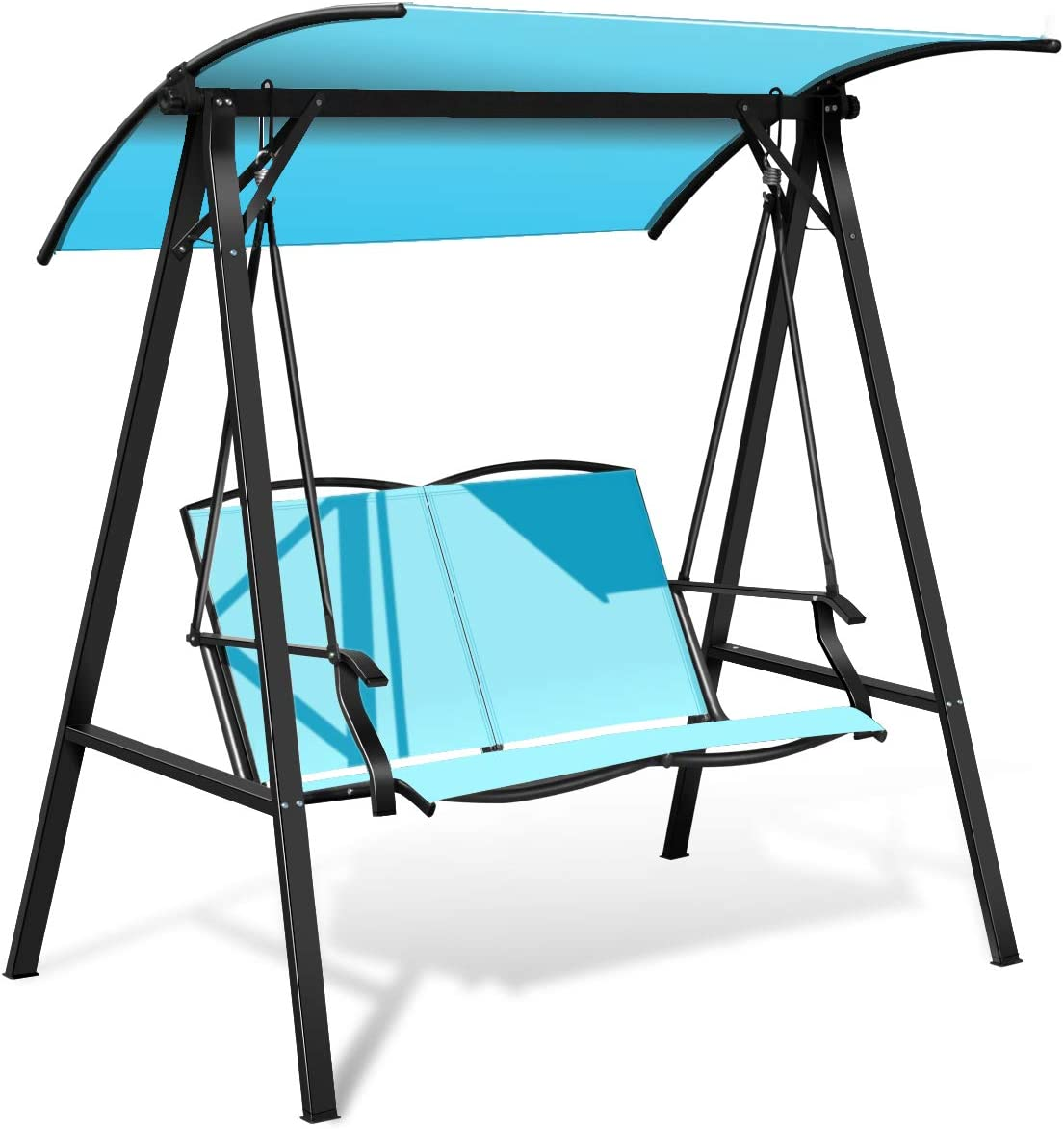 Tangkula 2-Person Patio Swing, Weather Resistant Glider with Adjustable Canopy, Outdoor Modern Canopy Swing Hammock Seats with Handrails Suitable for Porch Garden Poolside Turquoise