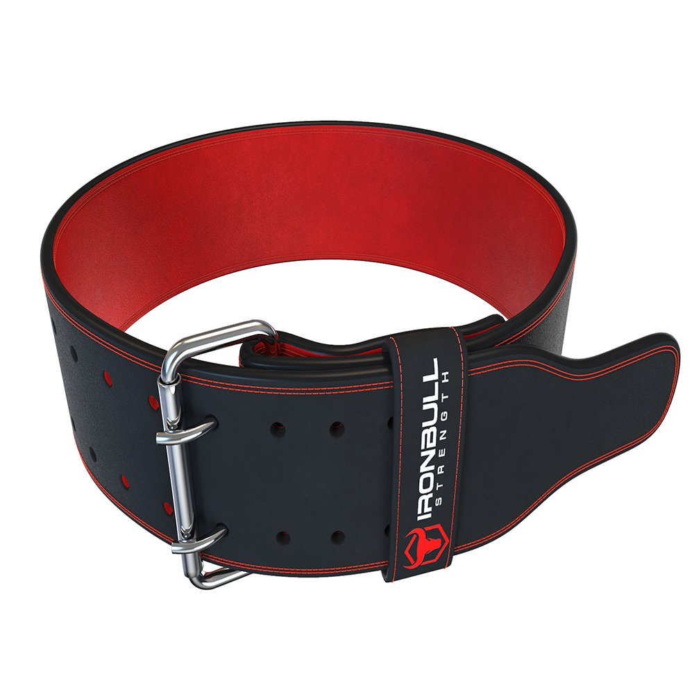 Iron Bull Strength Powerlifting Belt - 10mm Double Prong - 4-inch Wide - Heavy Duty for Extreme Weight Lifting Belt (Black/Red, XX-Large) by Iron Bull Strength (Image #1)
