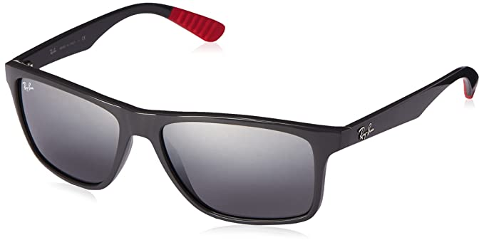 Ray-Ban Injected Man Sunglasses - Grey Frame Grey Gradient Mirror Lenses 58mm Non-