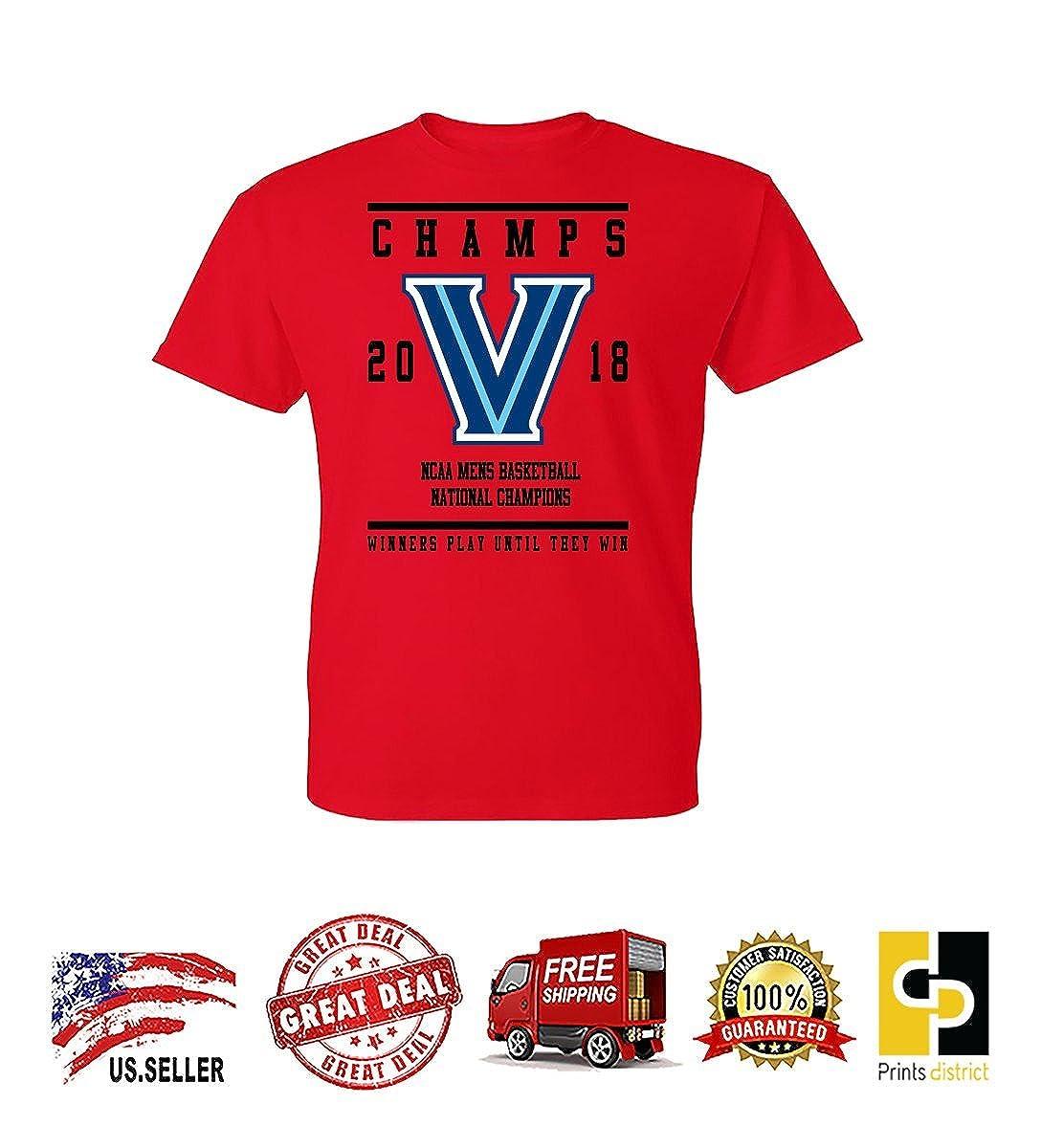 677355ab Amazon.com: Prints District Villanova Basketball Champions Winners Play  Untill They Win Mens t-Shirt: Clothing