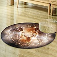 Anti-Skid Area Rug Pentagram in Flames Black Ceremony Ritual Lucifer Demonic Skull Gray Orange Soft Area Rugs-Round 47