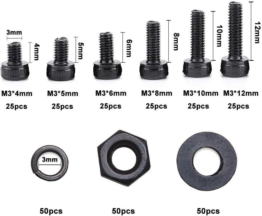 Tuercas Surtidas para Maquinaria de Construcci/ón Negro Herramientas de Hardware Arandelas Con Caja de Pl/ástico 300 Piezas Tornillos Hexagonales M3 Piezas Mec/ánicas