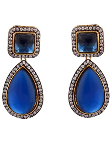 earring stone with earrings product and crystals light silver artedorada blue
