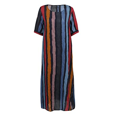 85316b0902d8a Vintage Women Casual Loose Striped Summer Dress Short Sleeves O Neck  Pockets Maxi Long Dresses 4XL 5XL at Amazon Women's Clothing store: