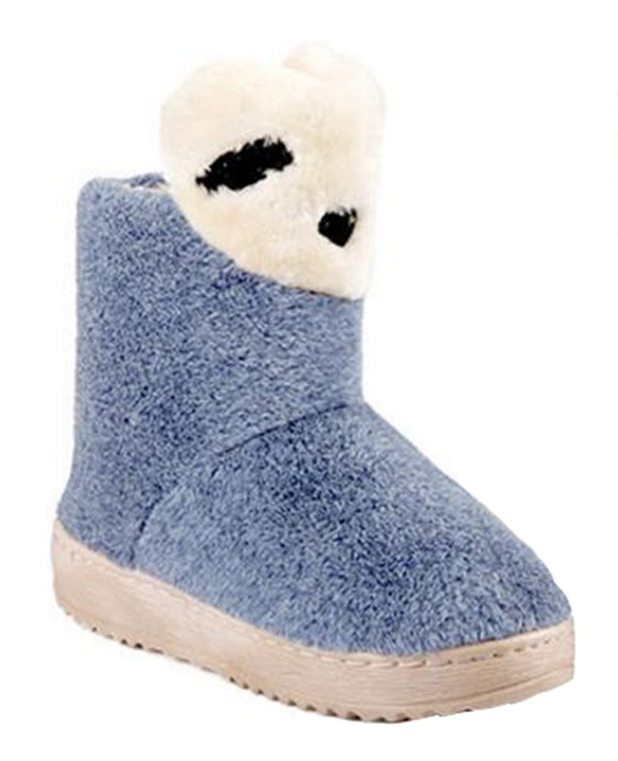 CHFSO Women's Cute Bear Solid Furry Fully Fur Lined Pull On Low Heel Platform Ankle High Warm Winter Snow Boots