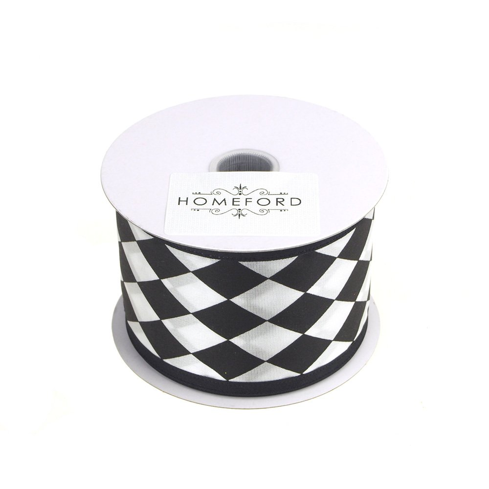 Homeford FJT0000X33204021 Ribbon, 2-1/2'', Black/White by Homeford