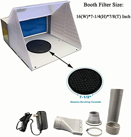 Craft Nails Master Airbrush Extra Large Dual Fan Lighted Portable Hobby Airbrush Spray Booth with LED Lighting for Painting All Art Includes 6 Foot Exhaust Hose Hobby T-Shirts /& More Cake