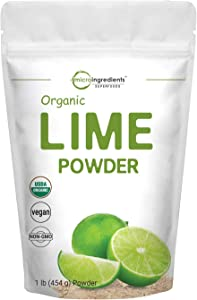Micro Ingredients Organic Lime Powder, 1 Pound, Rich in Natural Vitamin C and Great Flavor for Drinks, Smoothie and Beverages, Non-GMO and Vegan Friendly