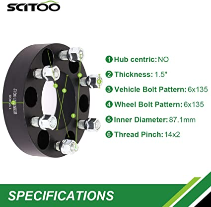 SCITOO 2X 1.5 inch 6 Lug 6x135 Wheel Spacers 6x135mm to 6x135mm 87.1mm 38mm Hub Bore 14x2 Studs Compatible with Ford F-150 for Lincoln Mark LT 2006-2014