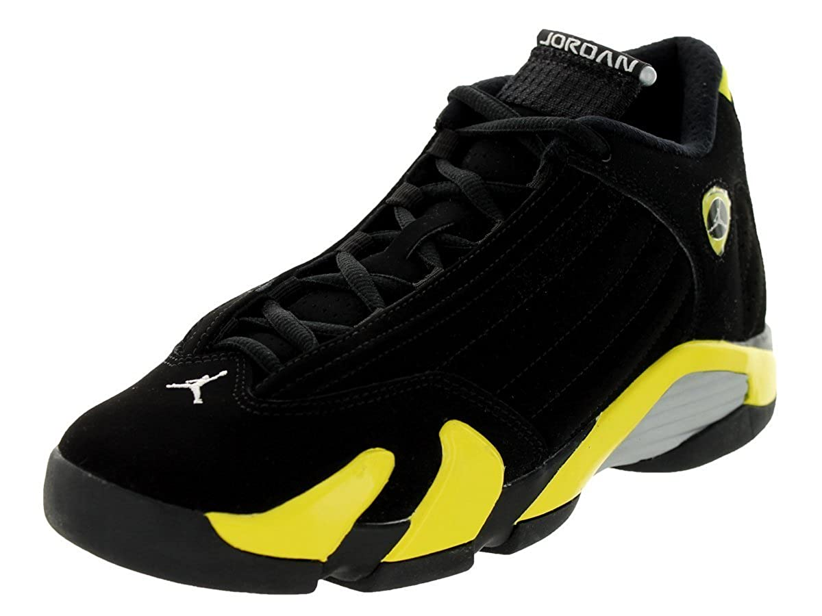first rate 2592c 8ffc9 Amazon.com   Jordan Nike Kids Air 14 Retro BG Black Vibrant Yellow White  Basketball Shoe 5 Kids US   Basketball