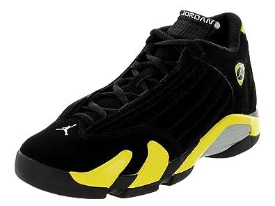 Nike Jordan Kids Air Jordan 14 Retro BG Black/Vibrant Yellow/White  Basketball Shoe