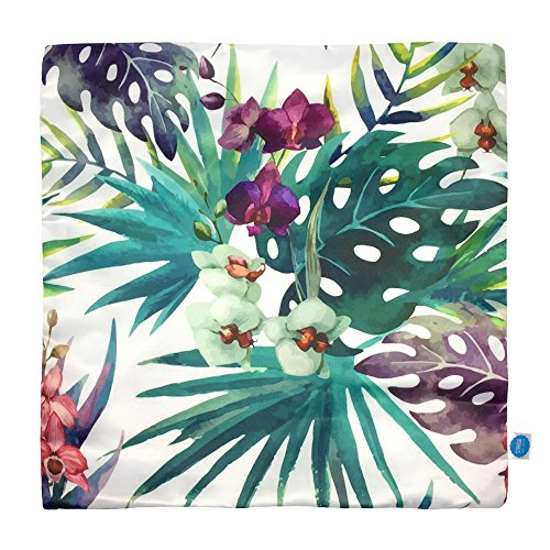 StarGo Throw Pillow Cover Tropical Rain forest Birds Leaves Flowers Silk like Square Decorative Cushion Covers Pillowcases Sofa Couch Coffee Accent Kids and bed 18