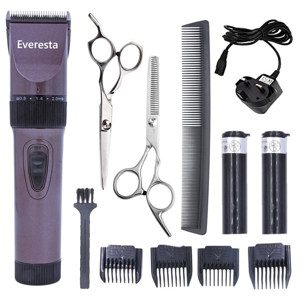 Everesta Quiet Men Clippers Cordless Rechargeable Hair clippers for Mens and Babies Professional Barber Clippers Set with 2 Rechargeable Batteries 4 Comb Guides and Scissors (Coffee)