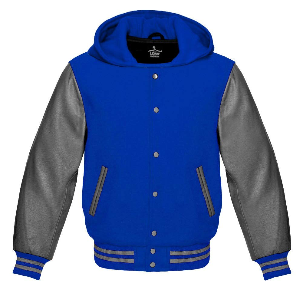 Varsity Hoodie Jacket for Baseball Letterman of Royal Blue Wool and Genuine Grey Leather Sleeves (M, Royal Blue) by Lishow Fashion