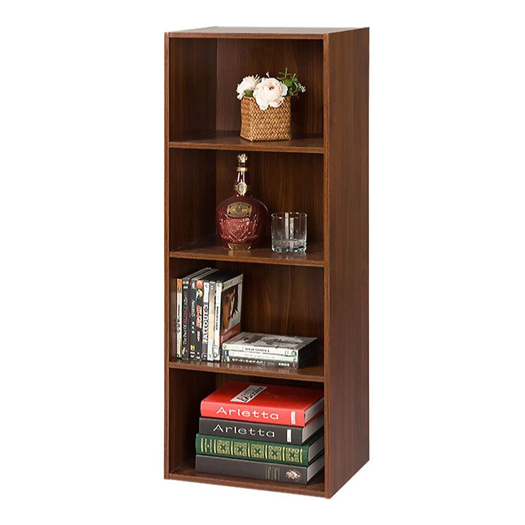 本棚ウッドラック、4段収納キューブ本棚棚表示用ユニットオフィスリビングルームブラウン B07MTKVC43