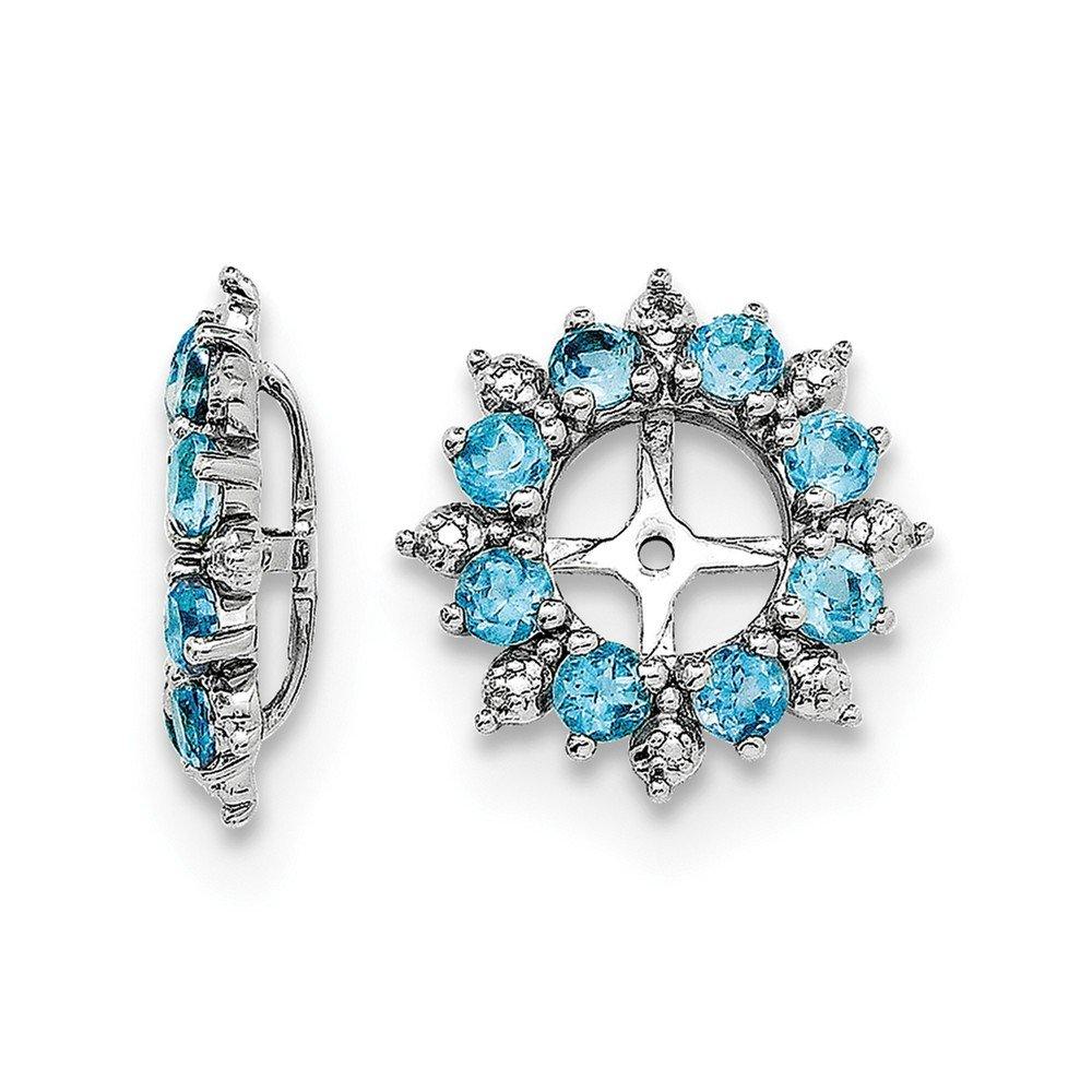 Sterling Silver Rhodium Diamond & Swiss Blue Topaz Earring Jacket