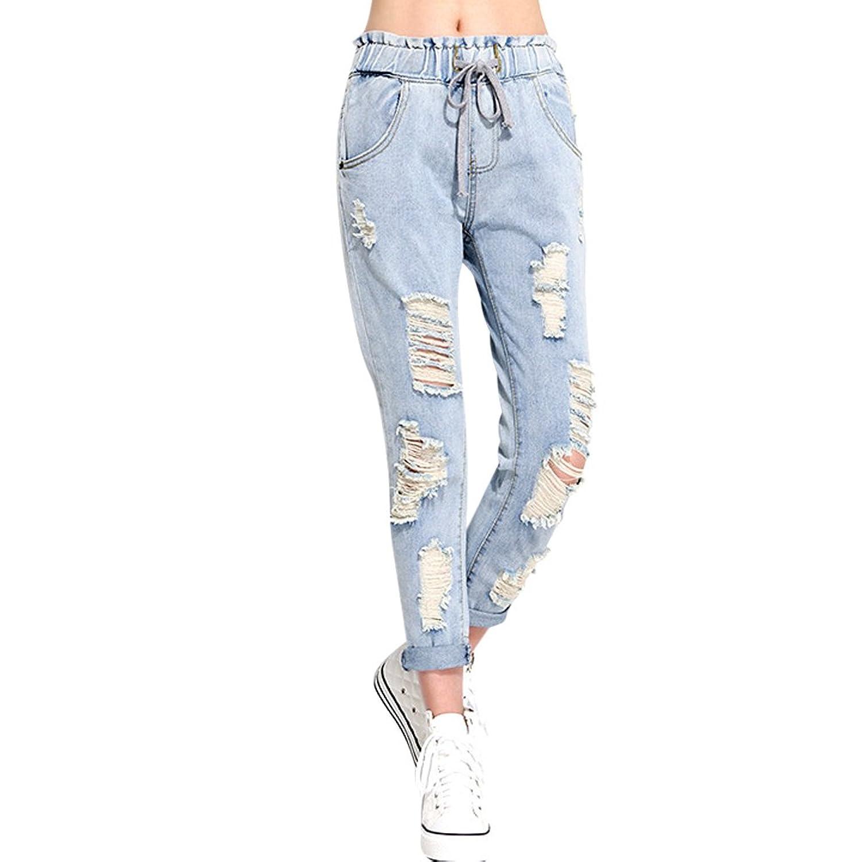 MNBS Womens Lacing Ripped Hole Stylish Slim Denim Pants