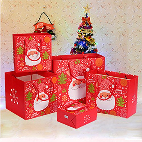 Onener Set of 9 Merry Christmas Paper Gift Bags - 3 Sizes Large Medium Small & 3 Different Designs Santa & Christmas Tree Patterns Designs Holiday Gift Wrap Festival Gift Set (Pack of 9)