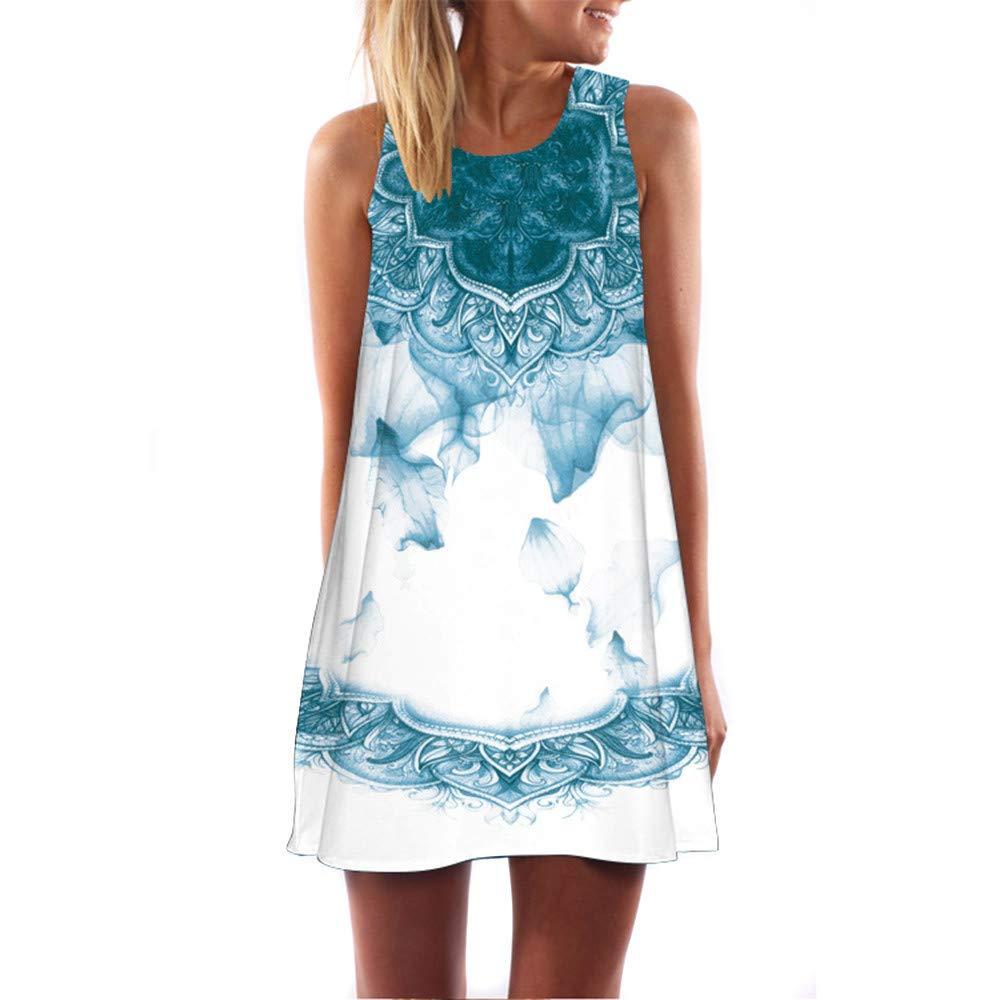 ✔ Hypothesis_X ☎ Women Bohemian Sundress Summer Loose Floral Printed Casual A Line Mini Vest Dresses Sleeveless Tank Dress