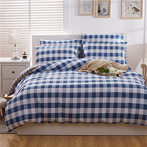 HOLY HOME Duvet Cover Set Pure Cotton Simple & American Rural Vintage Style Trellis Design Small-check Blue 4 Piece- Gentlemen's Bedclothes Twin Size 70''x86'' Hypoallergenic by HOLY HOME