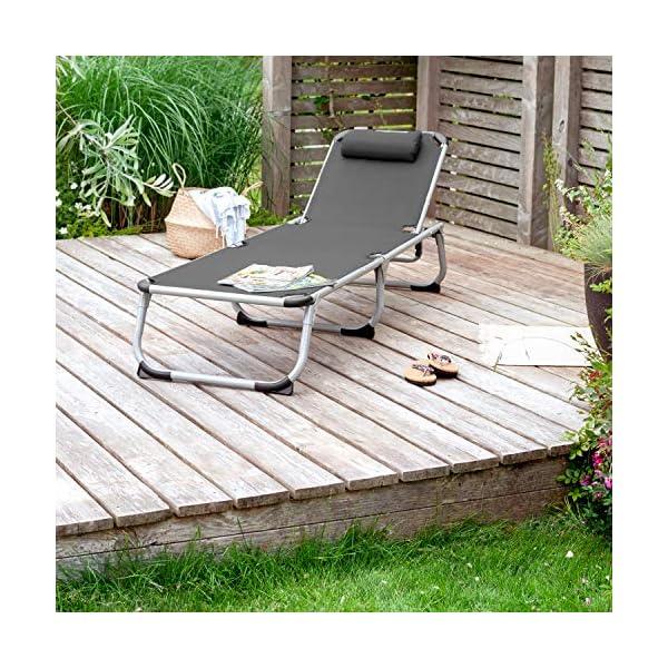 61EG38V48KL Park Alley PA-5210 Sonnenliege mit Kissen, Gartenliege klappbar mit Rahmen aus Aluminium, hochwertig & robust…