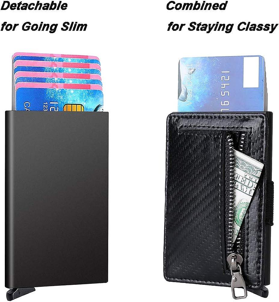 RFID Credit Card Holder Aluminum Case /& Leather Coin Wallet Slim Pop Up Wallet