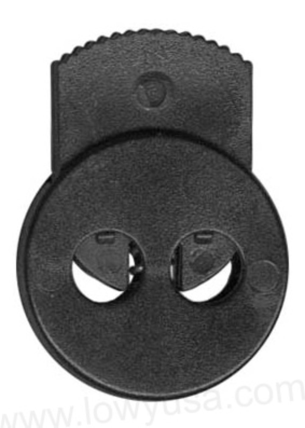 FMS Circle Dual Hold Lock - Dual Hole Cord Lock, Spring Stop, Toggle (6 Pack)(Black)