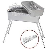 Holzkohlegrill XL Edelstahl silber Charcoal Grill Camping Balkon Picknick ✔ eckig ✔ tragbar ✔ stehend grillen ✔ Grillen mit Holzkohle