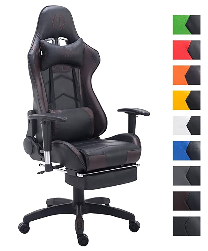 CLP Silla Gaming Turbo en Cuero Sintético I Silla Gamer con Capacidad de Carga 150 kg I Silla Racing Giratoria & Regulable en Altura I Color: Negro/marrón: ...