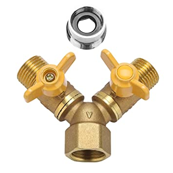 Fdit G1/2 Brass 2 Way Double Faucet Tap Hose Adapter Connector for ...