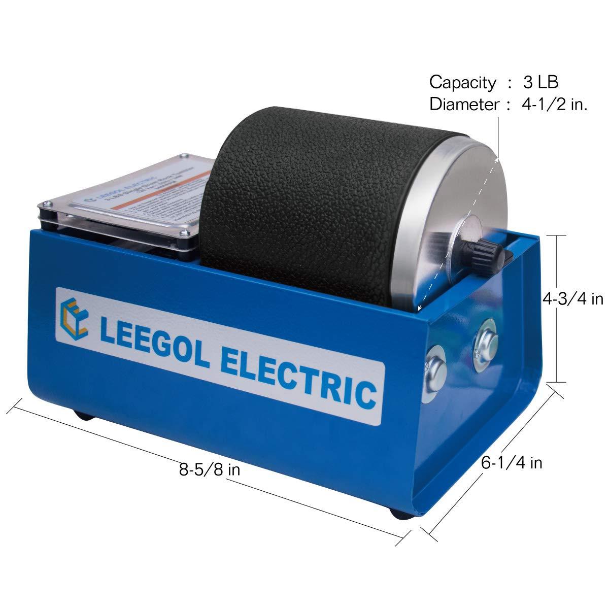 Leegol Electric Hobby Rock Tumbler Machine Single Drum 3LB Rotary Rock Polisher Single Barrel
