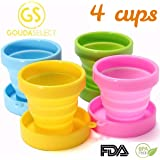 Collapsible Cups - Camping Cups - 4 Cups, 4 colors - 170 ML - by Gouda Select