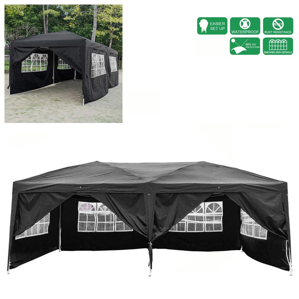 Ooscy Outdoor Pop Up Canopy Tent, 3 x 6M Four Windows Practical Waterproof Folding Tent Instant Canopy Sunwall for Commercial Wedding Party BBQ Event, Sunshade Waterproof Heavy Duty
