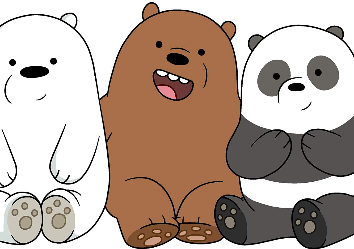 Funny Bears Poster Cartoon Art Print We Bare Bears Artwork No Frame Poster Modern Canvas Prints Wall Art Paintings Ready to Hang Home Decorations Watercolor Poster Picture