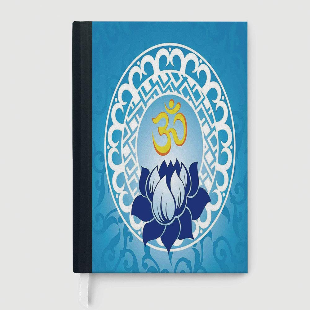 Chakra Decor,College Ruled Notebook/Composition/Journals/Dairy/Office Note Books,Eastern Spiritual Design with Lotus Flower Petal Mystical Powers of Nature Print,96 sheets/192 pages,A5/8.24x5.73 in
