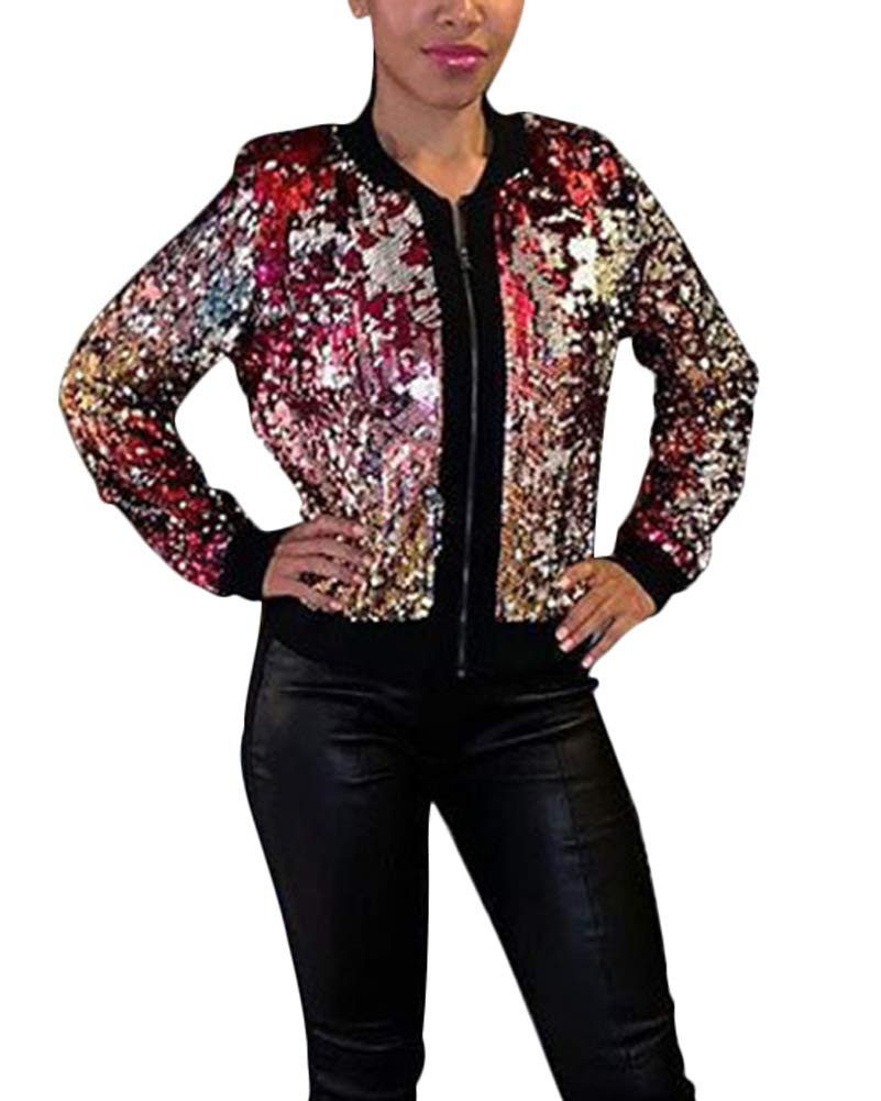 Women's Sequin Bomber Jacket - Lightweight Zip Up Blazer Sequence Outfit Shiny Disco Jacket Glitter Top Purple by ThusFar