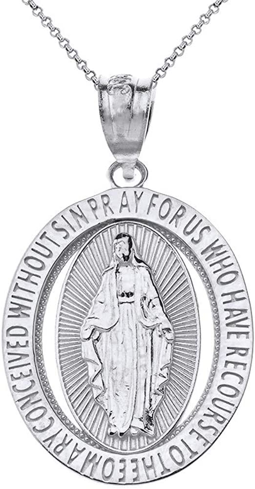 CaliRoseJewelry 10k Gold Saint Mary Pray Us Oval Charm Pendant Necklace