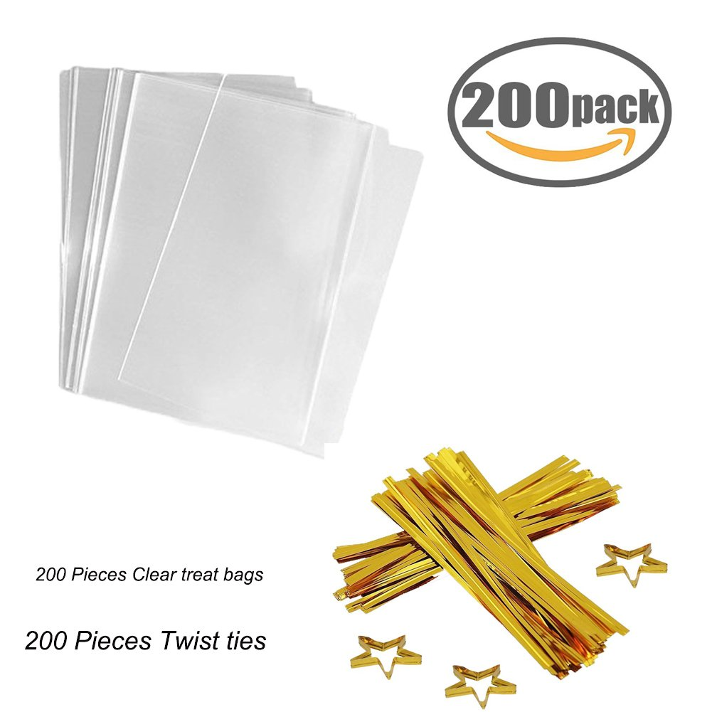 Clear Treat Bags 200 PCS (6''by 8'') Cellophane Bag Party Favor Bags with 200PCS Gold Twist Ties for Wedding Gift Cookie Candy