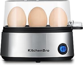 Huevera eléctrica para cocinar huevos con capacidad para 3 huevos para huevos duros hervidos, huevos estanqueados, huevos