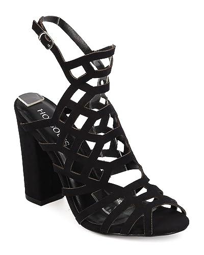 9dda07bf Amazon.com | HOTSOLES Women Faux Suede Peep Toe Caged Block Heel ...