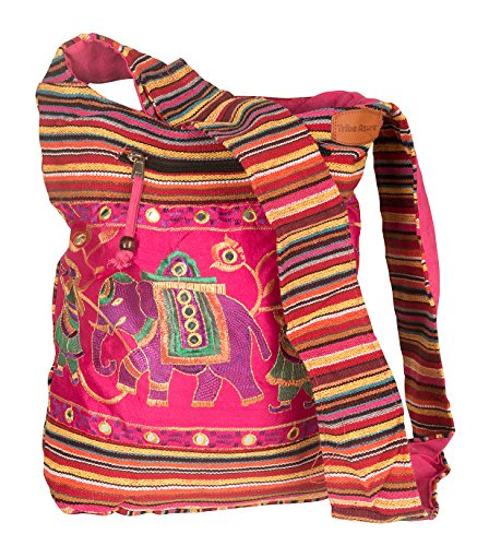 Pink Shoulder Bag Handmade Embroidered Elephant Boho Bohemian Hippie Tote Gypsy Beach Bag - Jacquard Hobo Style Bag