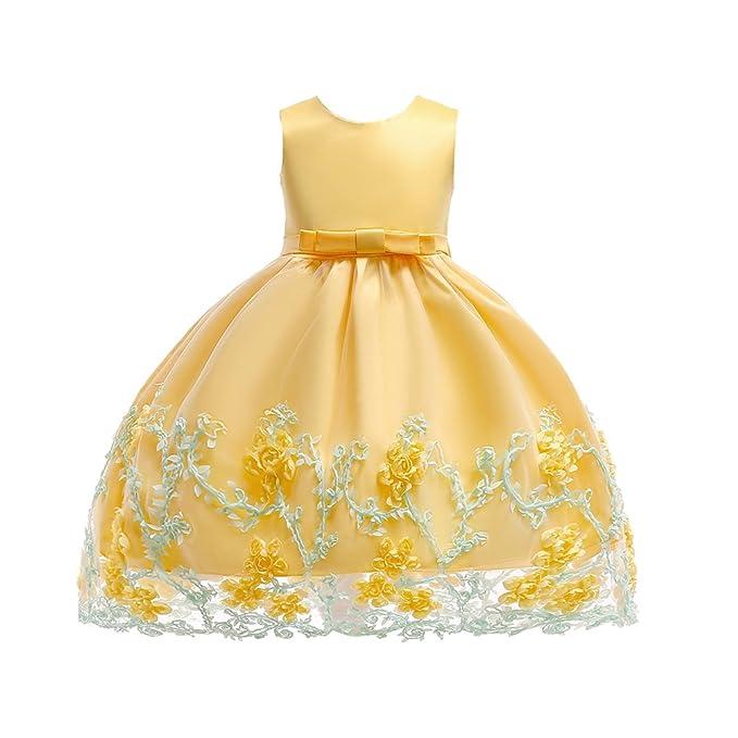 Tookang Vestido De Flores para Niñas Formal Fiesta De Dama De Honor Vestido De Bautizo Vestido De Encaje Princesa para Niños: Amazon.es: Ropa y accesorios
